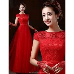 Formal Evening Dress Ruby Plus Sizes Sheath Column Bateau Floor Length Lace