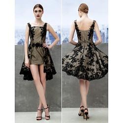 Cocktail Party Dress Black A Line Straps Knee Length Lace