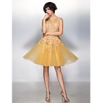 TS Couture Cocktail Party Dress - Champagne A-line Jewel Knee-length Lace / Tulle Special Occasion Dresses