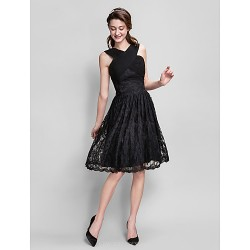 Knee Length Lace Bridesmaid Dress Black Plus Sizes Petite A Line V Neck