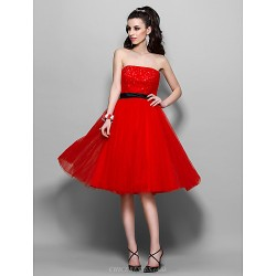 Cocktail Party Prom Homecoming Holiday Dress Ruby Plus Sizes Petite A Line Strapless Knee Length Tulle
