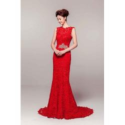 Formal Evening Dress - Ruby Sheath/Column Jewel Court Train Lace