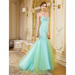 Formal Evening Dress - Multi-color Fit & Flare Sweetheart Floor-length Organza