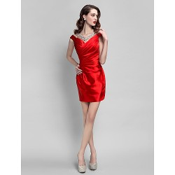 Cocktail Party Dress Ruby Plus Sizes Petite Sheath Column Jewel Short Mini Stretch Satin