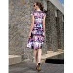 Cocktail Party / Prom / Holiday Dress - Print Plus Sizes / Petite A-line Jewel Knee-length Satin Chiffon Special Occasion Dresses