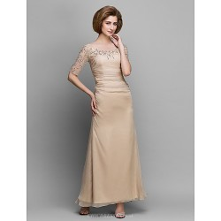 A Line Mother Of The Bride Dress Champagne Ankle Length Half Sleeve Chiffon