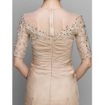 A-line Mother of the Bride Dress - Champagne Ankle-length Half Sleeve Chiffon Mother Of The Bride Dresses