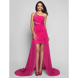 Formal Evening Dress - Fuchsia Plus Sizes / Petite Sheath/Column One Shoulder Short/Mini / Asymmetrical Chiffon