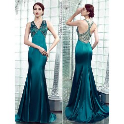 Formal Evening Dress Jade Plus Sizes Petite Trumpet Mermaid V Neck Floor Length Stretch Satin