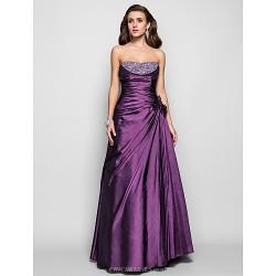 Prom Formal Evening Military Ball Dress Grape Plus Sizes Petite A Line Princess Strapless Floor Length Taffeta