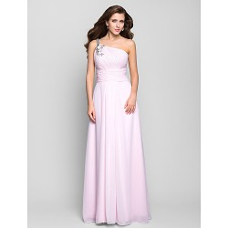 Prom / Military Ball / Formal Evening Dress - Blushing Pink Plus Sizes / Petite A-line One Shoulder Floor-length Chiffon