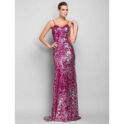 Formal Evening Military Ball Dress Fuchsia Plus Sizes Petite Trumpet Mermaid Spaghetti Straps Floor Length Sequined