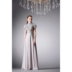 Formal Evening Dress - Silver A-line High Neck Floor-length Satin