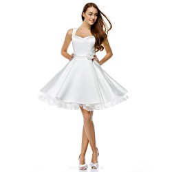 Cocktail Party Dress Ivory A Line Sweetheart Knee Length Satin
