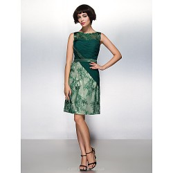Cocktail Party Dress Dark Green Sheath Column Scoop Knee Length Chiffon Lace Tulle
