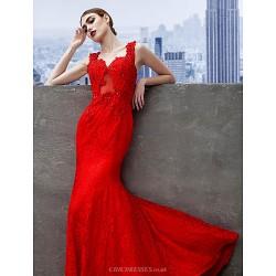 Formal Evening Dress Ruby Trumpet Mermaid Sweetheart Sweep Brush Train Lace