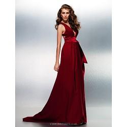 Prom Formal Evening Dress Burgundy Plus Sizes Petite A Line V Neck Sweep Brush Train Stretch Satin