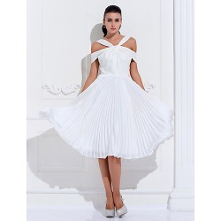 Cocktail Party / Holiday / Prom Dress - Ivory Plus Sizes / Petite A-line Off-the-shoulder Knee-length Satin Chiffon / Stretch Satin