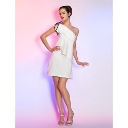 Cocktail Party / Graduation / Holiday Dress - Ivory Plus Sizes / Petite Sheath/Column One Shoulder Short/Mini Stretch Satin