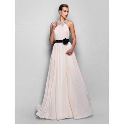 Formal Evening Military Ball Dress Pearl Pink Plus Sizes Petite A Line Halter Floor Length Georgette