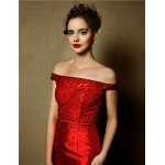 Formal Evening Dress - Burgundy Plus Sizes Trumpet/Mermaid Off-the-shoulder Sweep/Brush Train Satin Special Occasion Dresses