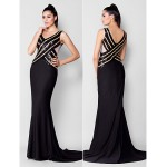 TS Couture Formal Evening Dress - Black Plus Sizes / Petite Trumpet/Mermaid V-neck Court Train Sequined / Jersey Special Occasion Dresses