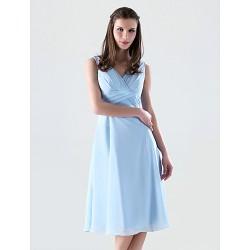 Knee Length Chiffon Bridesmaid Dress Sky Blue Plus Sizes Petite A Line Princess V Neck