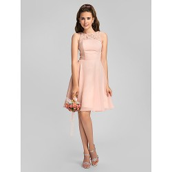 Knee-length Chiffon Bridesmaid Dress - Pearl Pink Plus Sizes / Petite A-line Jewel
