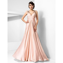 Formal Evening Prom Military Ball Dress Pearl Pink Plus Sizes Petite Sheath Column V Neck Floor Length Satin Chiffon