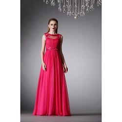 Formal Evening Dress Ruby A Line Jewel Floor Length Chiffon