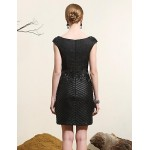 Cocktail Party Dress - Black Plus Sizes Sheath/Column V-neck Knee-length Lace / Satin Special Occasion Dresses