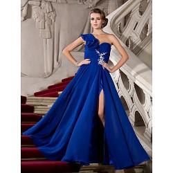 Formal Evening Prom Military Ball Dress Royal Blue Plus Sizes Petite A Line Princess One Shoulder Floor Length Chiffon
