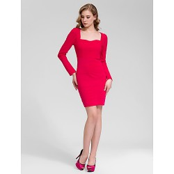 Cocktail Party Dress Ruby Sheath Column Queen Anne Short Mini