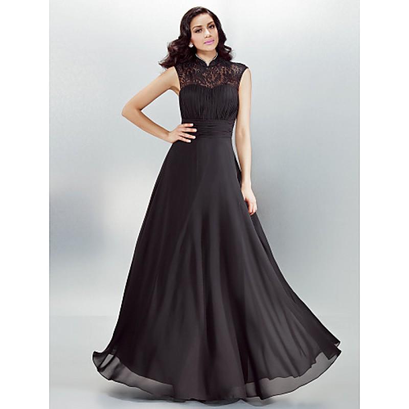 af0b5135467 Formal Evening Dress - Black Plus Sizes   Petite A-line High Neck Floor-