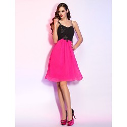 Cocktail Party Homecoming Holiday Dress Multi Color Plus Sizes Petite A Line Spaghetti Straps Short Mini Georgette