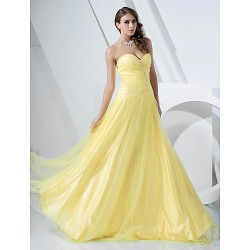 Prom Military Ball Formal Evening Dress Daffodil Plus Sizes Petite A Line Princess Strapless Sweetheart Floor LengthSatin