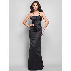 Formal Evening / Military Ball Dress - Black Plus Sizes / Petite Trumpet/Mermaid Spaghetti Straps Floor-length Satin
