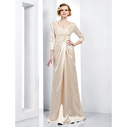 Formal Evening / Military Ball Dress - Champagne Plus Sizes / Petite Sheath/Column V-neck Floor-length Stretch Satin