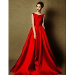 Formal Evening Dress - Burgundy Plus Sizes A-line Bateau Floor-length Satin Special Occasion Dresses
