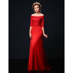 Formal Evening Dress - Ruby Petite Trumpet/Mermaid Off-the-shoulder Court Train Lace / Charmeuse