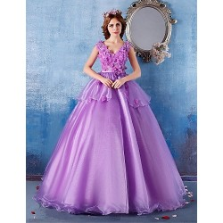 Formal Evening Dress - Lilac Ball Gown V-neck Floor-length Satin