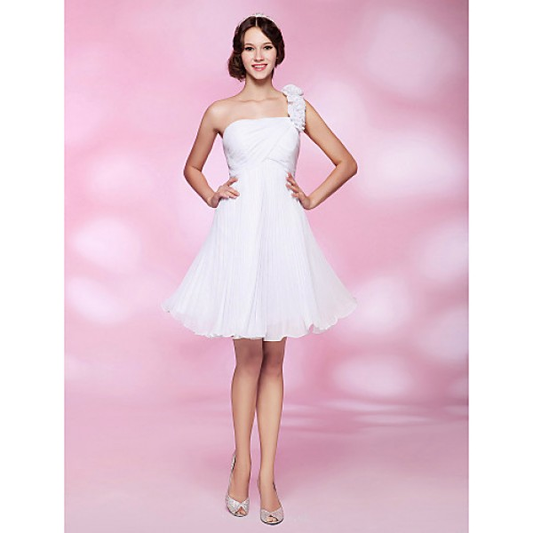 Cocktail Party / Graduation / Homecoming / Wedding Party Dress - White Plus Sizes / Petite A-line / Princess One Shoulder Knee-length Special Occasion Dresses