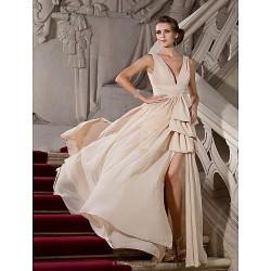 Formal Evening Military Ball Dress Champagne Plus Sizes Petite A Line Princess V Neck Sweep Brush Train Chiffon