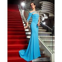 Military Ball Formal Evening Dress Pool Plus Sizes Petite Trumpet Mermaid One Shoulder Sweep Brush Train Jersey