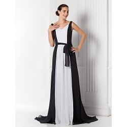 Formal Evening Prom Military Ball Dress Black Plus Sizes Petite A Line V Neck Court Train Chiffon