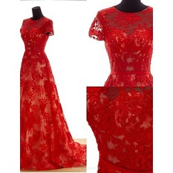 Formal Evening Dress Ruby Plus Sizes A Line Jewel Sweep Brush Train Lace