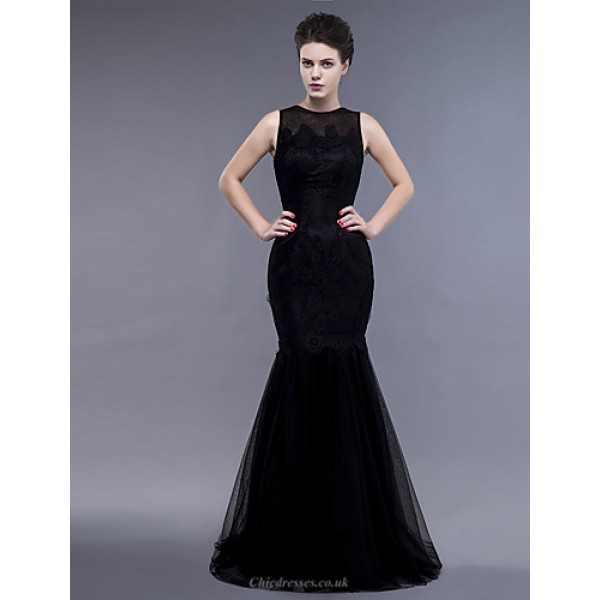 Dress - Black Plus Sizes / Petite Fit & Flare Jewel Floor-length Lace / Tulle Special Occasion Dresses