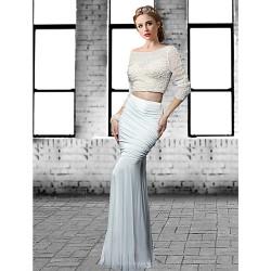 Formal Evening Dress Ivory Black Plus Sizes Petite Trumpet Mermaid Jewel Floor Length Tulle Spandex