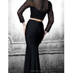 Formal Evening Dress - Ivory / Black Plus Sizes / Petite Trumpet/Mermaid Jewel Floor-length Tulle / Spandex Special Occasion Dresses
