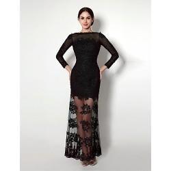 Formal Evening Dress Black Sheath Column Bateau Sweetheart Ankle Length Lace